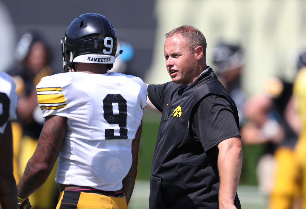 Iowa Hawkeyes linebackers coach Seth Wallace during Fall Camp Practice No. 5 Tuesday, August 6, 2019 at the Ronald D. and Margaret L. Kenyon Football Practice Facility. (Brian Ray/hawkeyesports.com)