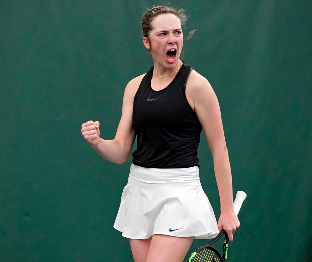 Iowa's Samantha Mannix celebrates a point during a match against Indiana at the Hawkeye Tennis and Recreation Complex in Iowa City on Sunday, Mar. 31, 2019. (Stephen Mally/hawkeyesports.com)