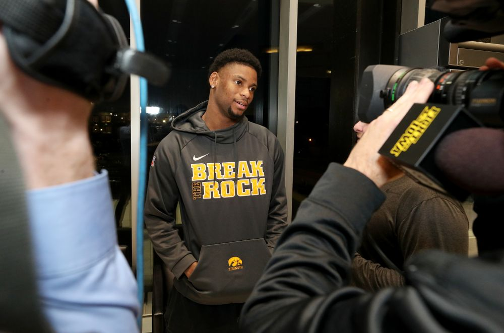 Iowa Hawkeyes wide receiver Ihmir Smith-Marsette (6) answers questions from the media on the Hawkeyes selection to face USC in the 2019 Holiday Bowl Sunday, December 8, 2019 at the Hansen Football Performance Center. (Brian Ray/hawkeyesports.com)