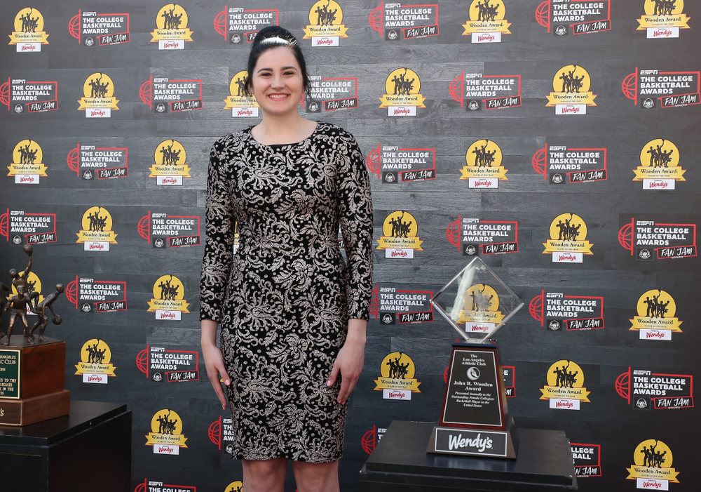 Iowa Hawkeyes forward Megan Gustafson (10) walks the red carpet before the ESPN College Basketball Awards show Friday, April 12, 2019 at The Novo at LA Live.  (Brian Ray/hawkeyesports.com)