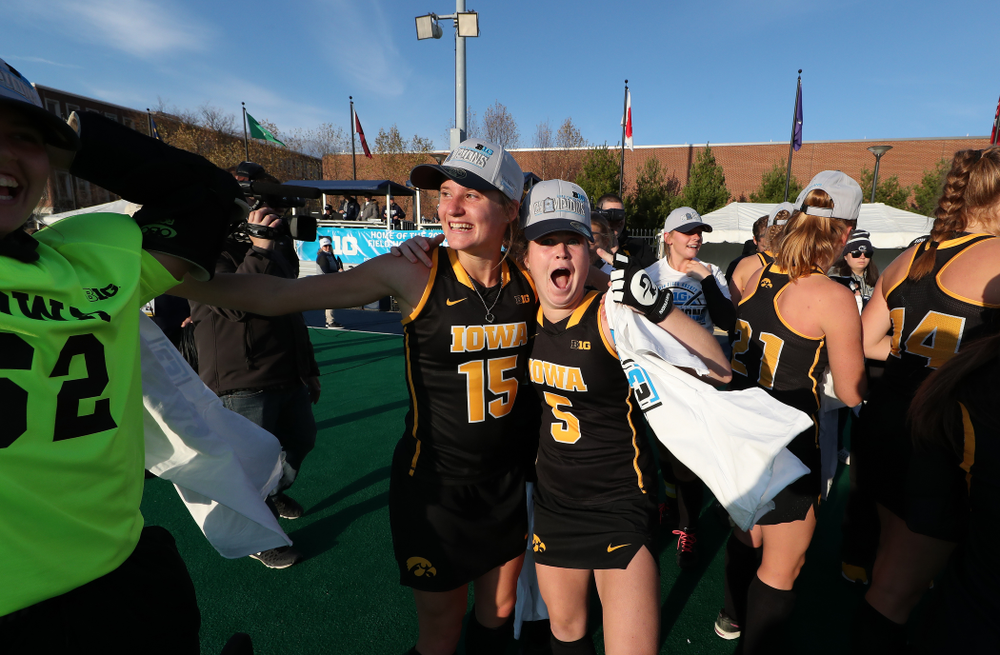 Iowa Hawkeyes Esme Gibson (15) and Meghan Conroy (5) celebrate their victory over  Penn State in the 2019 Big Ten Field Hockey Tournament Championship Game Sunday, November 10, 2019 in State College. (Brian Ray/hawkeyesports.com)