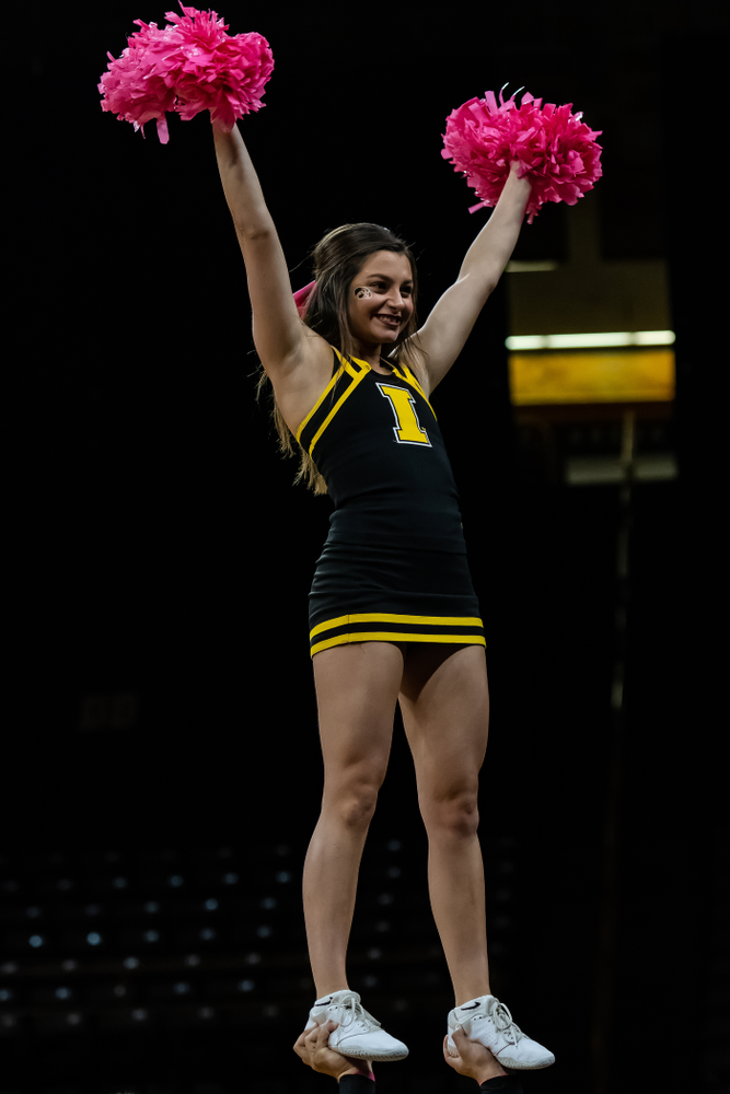 The Iowa Cheerleaders against the Wisconsin Badgers Saturday, October 6, 2018 at Carver-Hawkeye Arena. (Clem Messerli/Iowa Sports Pictures)