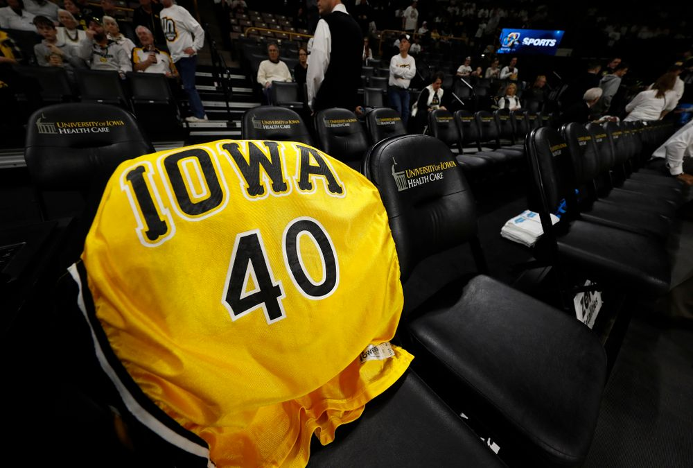 Chris Street's jersey on the Iowa bench