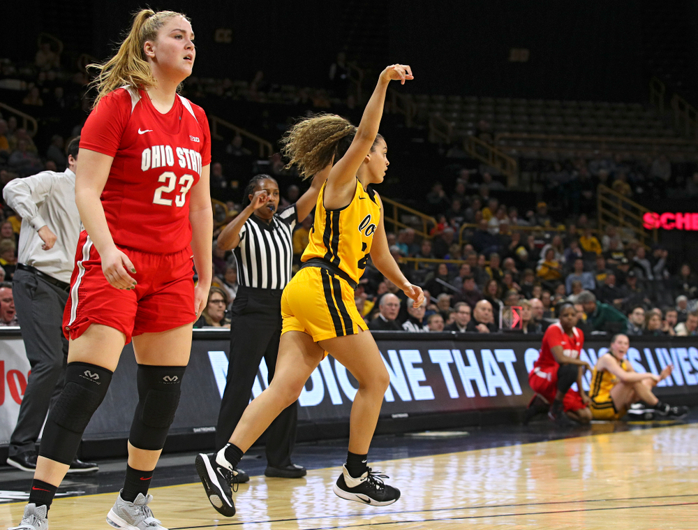Iowa Hawkeyes guard Gabbie Marshall (24) holds up her hand after making a 3-pointer during the second quarter of their game at Carver-Hawkeye Arena in Iowa City on Thursday, January 23, 2020. (Stephen Mally/hawkeyesports.com)