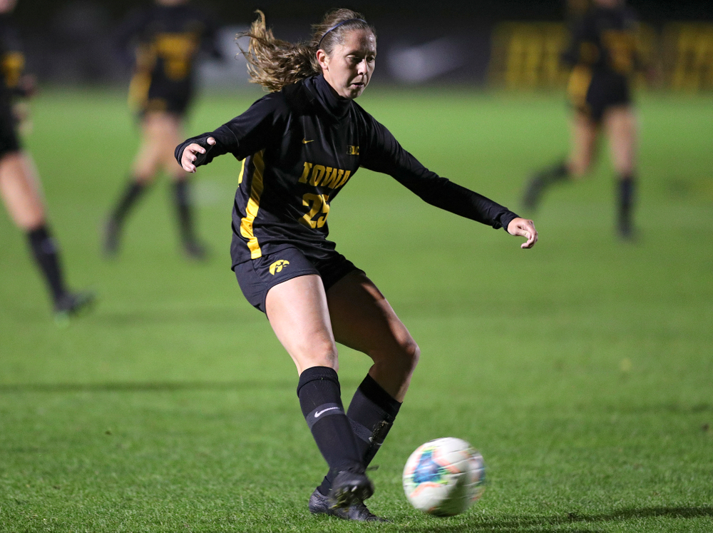 Iowa midfielder Josie Durr (25) takes a shot during the first half of their match at the Iowa Soccer Complex in Iowa City on Friday, Oct 11, 2019. (Stephen Mally/hawkeyesports.com)