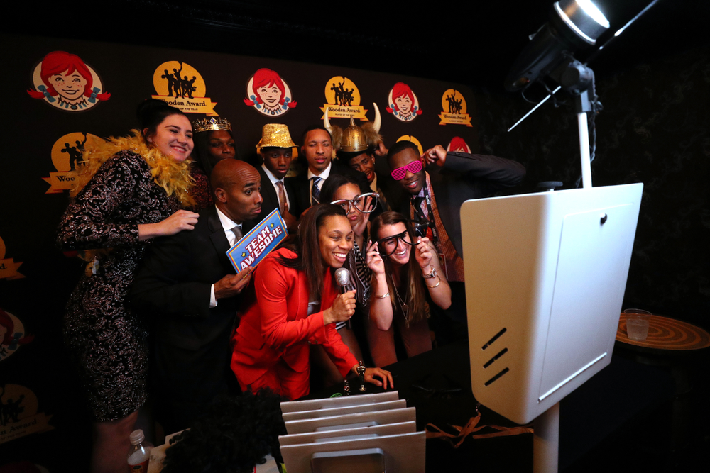 Iowa Hawkeyes forward Megan Gustafson (10) in the photo booth with the other honorees at the after party for the ESPN College Basketball Awards show Friday, April 12, 2019 at The Novo at LA Live.  (Brian Ray/hawkeyesports.com)