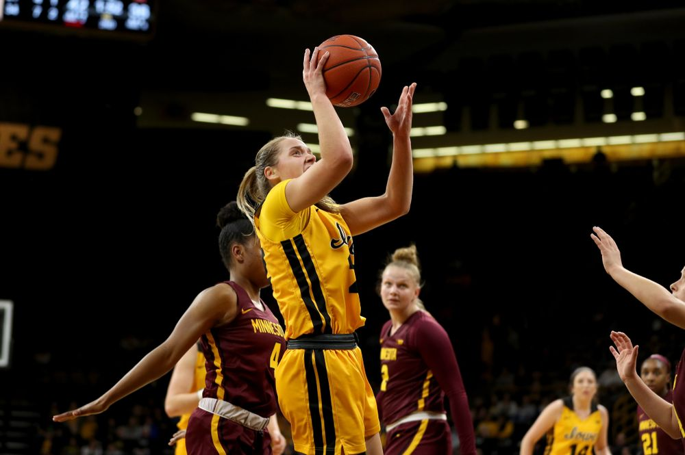 Iowa Hawkeyes guard Kathleen Doyle (22) against the Minnesota Golden Gophers Thursday, February 27, 2020 at Carver-Hawkeye Arena. (Brian Ray/hawkeyesports.com)