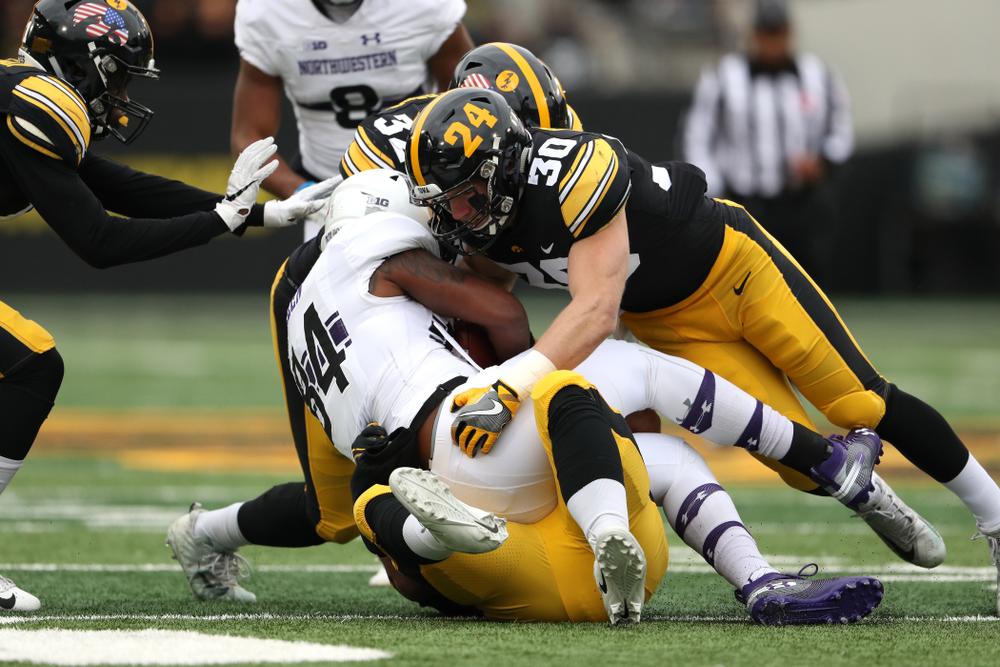 Iowa Hawkeyes defensive back Jake Gervase (30) against the Northwestern Wildcats Saturday, November 10, 2018 at Kinnick Stadium. (Brian Ray/hawkeyesports.com)