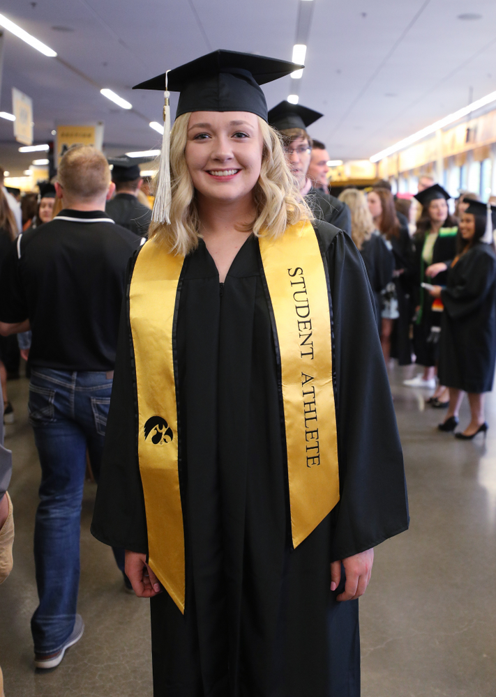 Iowa SoftballÕs Brooke Rozier during the College of Liberal Arts and Sciences spring commencement Saturday, May 11, 2019 at Carver-Hawkeye Arena. (Brian Ray/hawkeyesports.com)