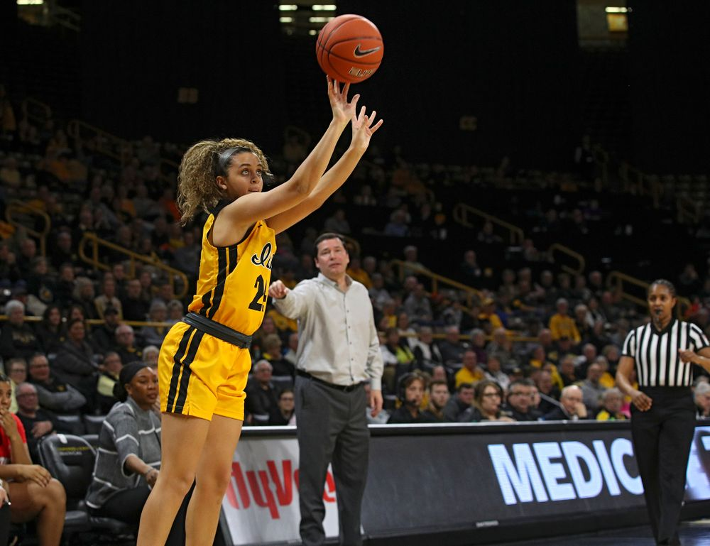 Iowa Hawkeyes guard Gabbie Marshall (24) makes a 3-pointer during the second quarter of their game at Carver-Hawkeye Arena in Iowa City on Thursday, January 23, 2020. (Stephen Mally/hawkeyesports.com)
