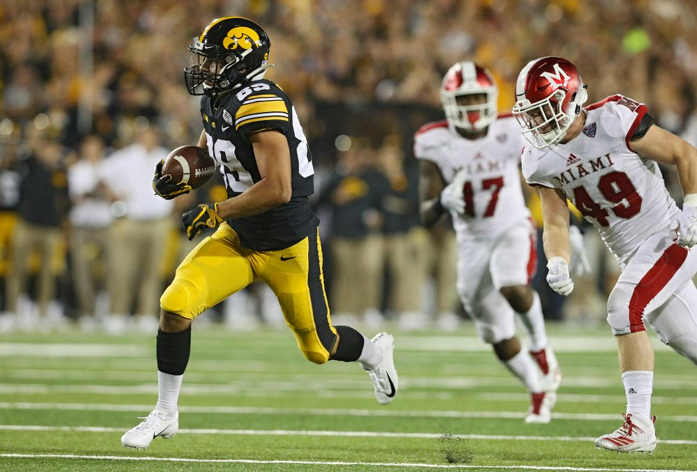 Iowa Hawkeyes wide receiver Nico Ragaini (89) runs down field after catching a pass during the third quarter of their game at Kinnick Stadium in Iowa City on Saturday, Aug 31, 2019. (Stephen Mally/hawkeyesports.com)