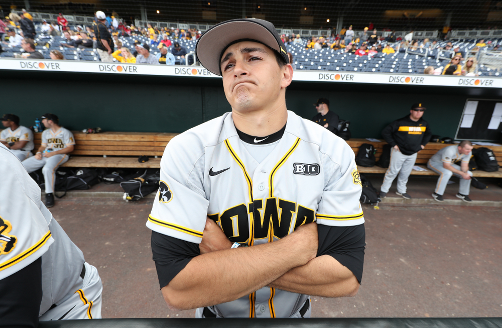Iowa Hawkeyes Jason Foster (27) against the Indiana Hoosiers in the first round of the Big Ten Baseball Tournament Wednesday, May 22, 2019 at TD Ameritrade Park in Omaha, Neb. (Brian Ray/hawkeyesports.com)