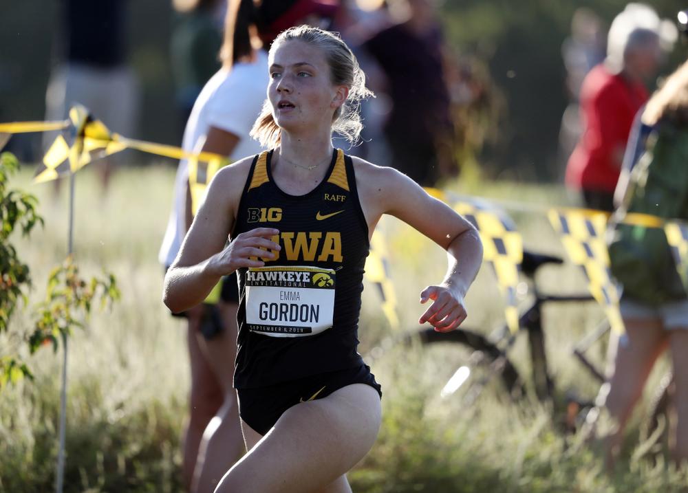 IowaÕs Emma Gordon runs in the 2019 Hawkeye Invitational Friday, September 6, 2019 at the Ashton Cross Country Course. (Brian Ray/hawkeyesports.com)