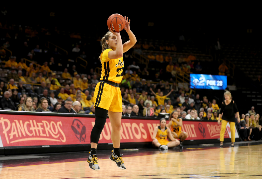 Iowa Hawkeyes guard Kathleen Doyle (22) knocks down a three point basket against the Maryland Terrapins Thursday, January 9, 2020 at Carver-Hawkeye Arena. (Brian Ray/hawkeyesports.com)
