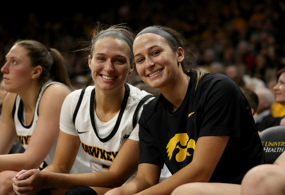 Iowa Hawkeyes guard Makenzie Meyer (3) and guard Megan Meyer (11) against Penn State Saturday, February 22, 2020 at Carver-Hawkeye Arena. (Brian Ray/hawkeyesports.com)