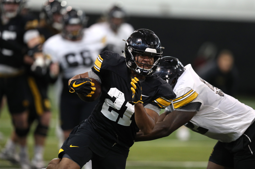 Iowa Hawkeyes running back Ivory Kelly-Martin (21) during practice Wednesday, December 12, 2018 at the Hansen Football Performance Center in preparation for the Outback Bowl game against Mississippi State. (Brian Ray/hawkeyesports.com)
