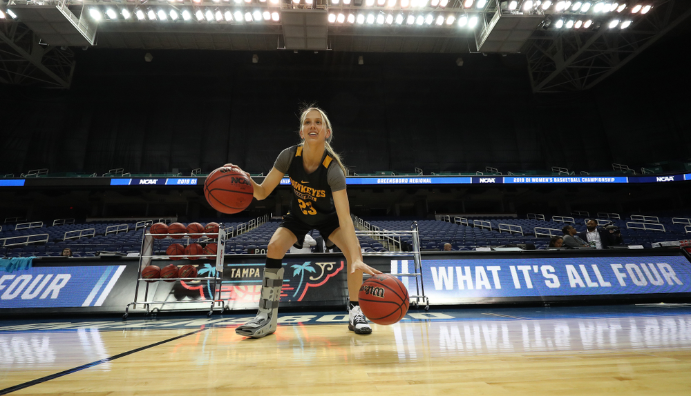Iowa Hawkeyes forward Logan Cook (23) during media and practice as they prepare for their Sweet 16 matchup against NC State Friday, March 29, 2019 at the Greensboro Coliseum in Greensboro, NC.(Brian Ray/hawkeyesports.com)