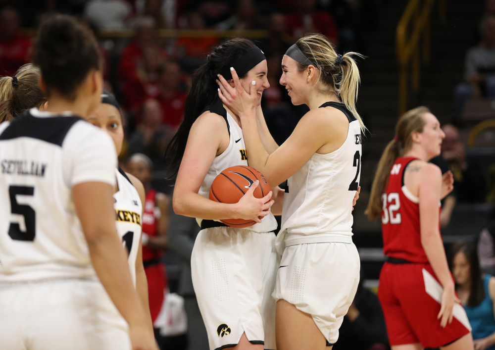 Iowa Hawkeyes forward Megan Gustafson (10) celebrates with forward Hannah Stewart (21) against the Nebraska Cornhuskers Thursday, January 3, 2019 at Carver-Hawkeye Arena. (Brian Ray/hawkeyesports.com)