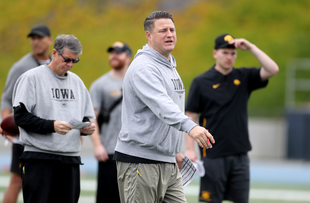 Iowa Hawkeyes offensive coordinator Brian Ferentz during practice Sunday, December 22, 2019 at Mesa Community College in San Diego. (Brian Ray/hawkeyesports.com)