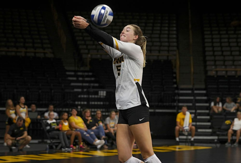 Iowa's Meghan Buzzerio (5) reaches a ball during the third set of their Big Ten/Pac-12 Challenge match against Colorado at Carver-Hawkeye Arena in Iowa City on Friday, Sep 6, 2019. (Stephen Mally/hawkeyesports.com)