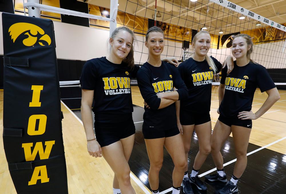 Iowa Volleyball's Reagan Davey, Kasey Reuter, Cali Hoye and