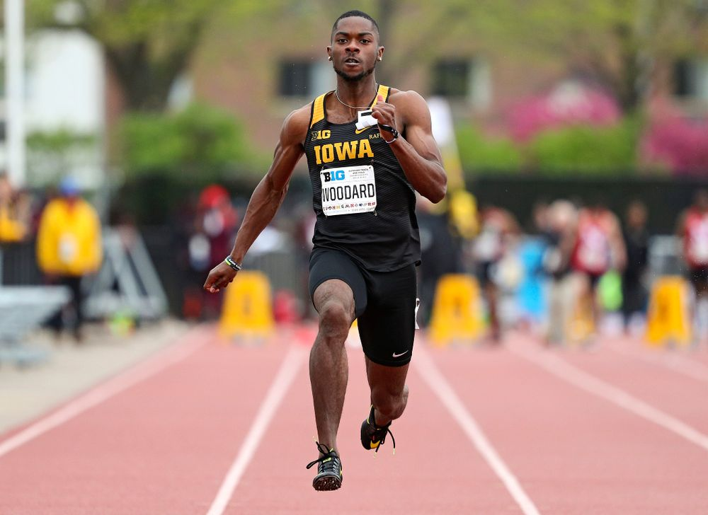 Iowa's Antonio Woodard runs the men's 100 meter dash event on the second day of the Big Ten Outdoor Track and Field Championships at Francis X. Cretzmeyer Track in Iowa City on Saturday, May. 11, 2019. (Stephen Mally/hawkeyesports.com)