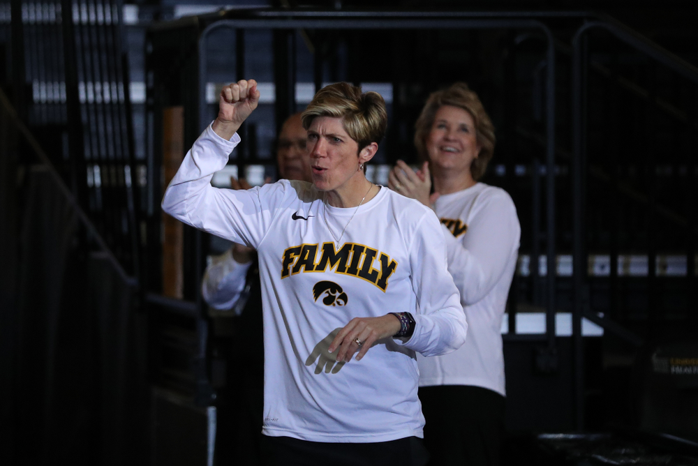 Iowa Hawkeyes associate head coach Jan Jensen during a celebration of their Big Ten Women's Basketball Tournament championship Monday, March 18, 2019 at Carver-Hawkeye Arena. (Brian Ray/hawkeyesports.com)