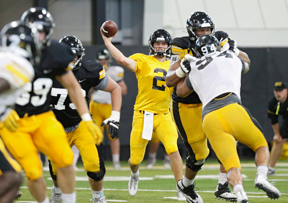 Iowa Hawkeyes quarterback Peyton Mansell (2) throws a pass during Fall Camp Practice No. 6 at the Hansen Football Performance Center in Iowa City on Thursday, Aug 8, 2019. (Stephen Mally/hawkeyesports.com)
