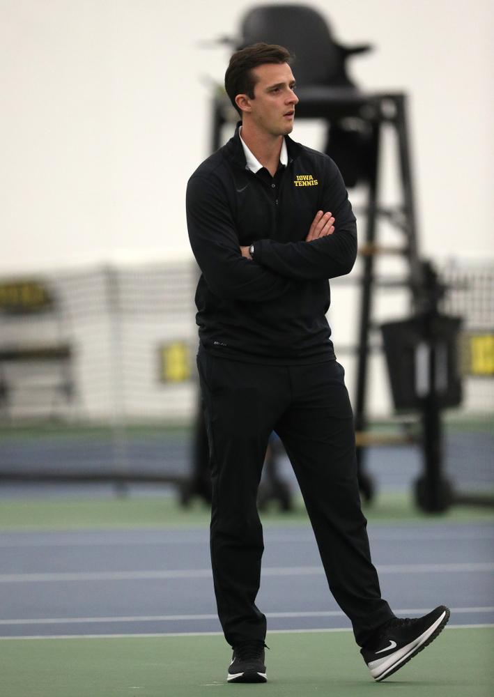 Iowa's assistant coach Joey Manilla against Western Michigan Saturday, January 19, 2019 at the Hawkeye Tennis and Recreation Complex. (Brian Ray/hawkeyesports.com)