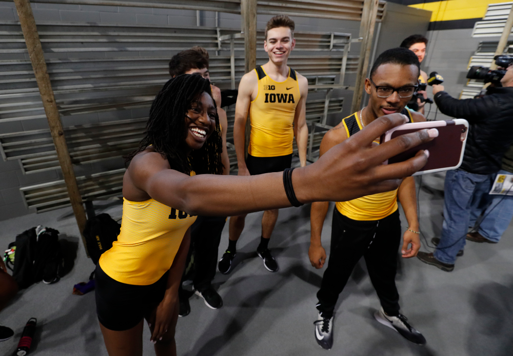 Jahisha Thomas and Mar'Yea Harris during the team's media day Wednesday, January 10, 2018 at the indoor track in the Recreation Building. (Brian Ray/hawkeyesports.com)
