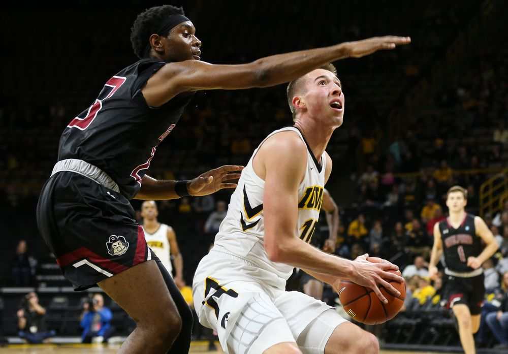 Iowa Hawkeyes guard Joe Wieskamp (10) goes up for a shot during a game against Guilford College at Carver-Hawkeye Arena on November 4, 2018. (Tork Mason/hawkeyesports.com)