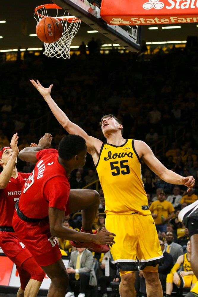 Iowa Hawkeyes center Luka Garza (55) attempts to catch a layup during the Iowa men's basketball game vs Rutgers on Wednesday, January 22, 2020 at Carver-Hawkeye Arena. (Lily Smith/hawkeyesports.com)
