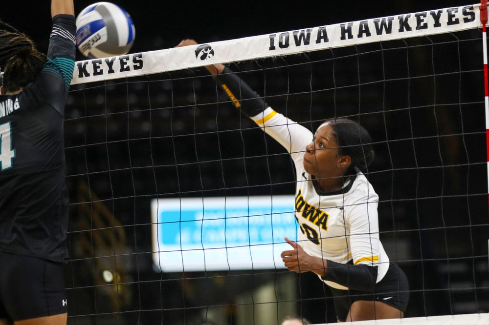 Iowa Hawkeyes outside hitter Griere Hughes (10) against Coastal Carolina Friday, September 20, 2019 at Carver-Hawkeye Arena. (Lily Smith/hawkeyesports.com)