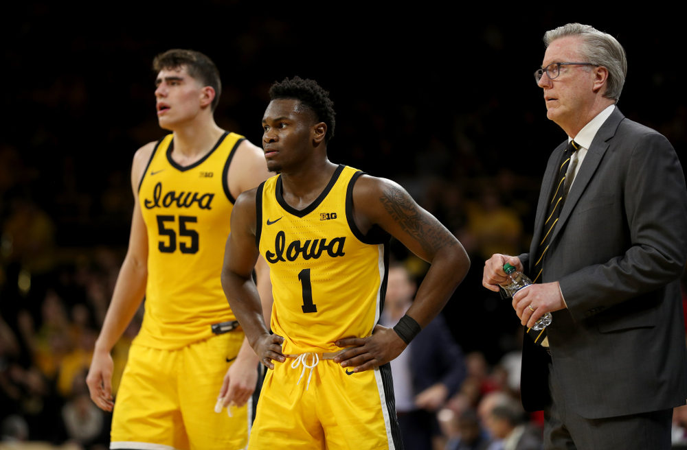 Iowa Hawkeyes guard Joe Toussaint (1) and head coach Fran McCaffery against the Nebraska Cornhuskers Saturday, February 8, 2020 at Carver-Hawkeye Arena. (Brian Ray/hawkeyesports.com)