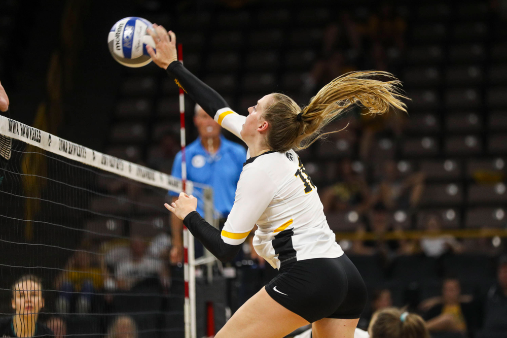 Iowa Hawkeyes defensive specialist Maddie Slagle (15) against Coastal Carolina Friday, September 20, 2019 at Carver-Hawkeye Arena. (Lily Smith/hawkeyesports.com)
