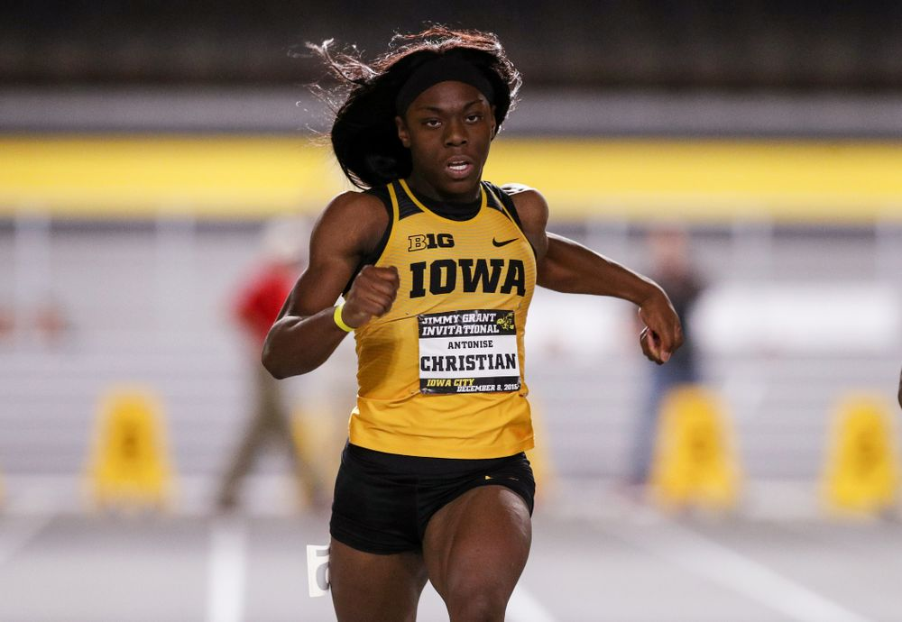 Iowa's Antonise Christian wins the 60-meter dash during the Jimmy Grant Invitational Saturday, December 8, 2018 at the Recreation Building. (Brian Ray/hawkeyesports.com)
