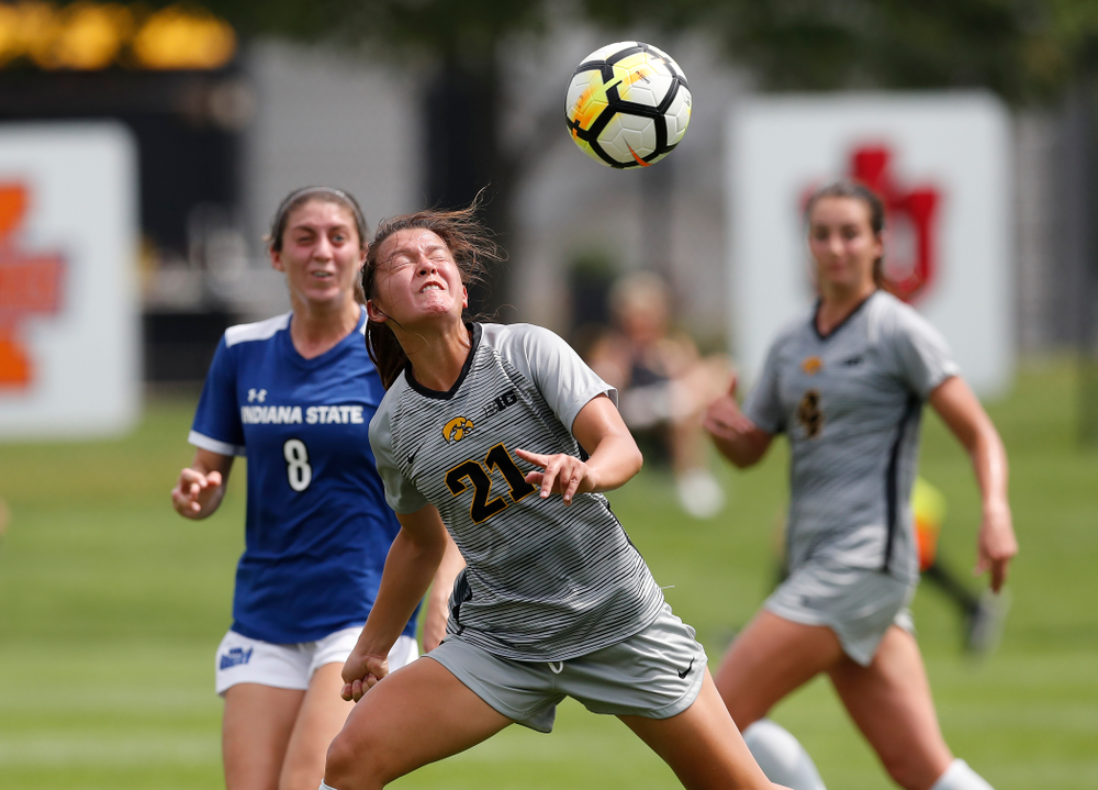 Iowa Hawkeyes Emma Tokuyama (21) against Indiana State Sunday, August 26, 2018 at the Iowa Soccer Complex. (Brian Ray/hawkeyesports.com)