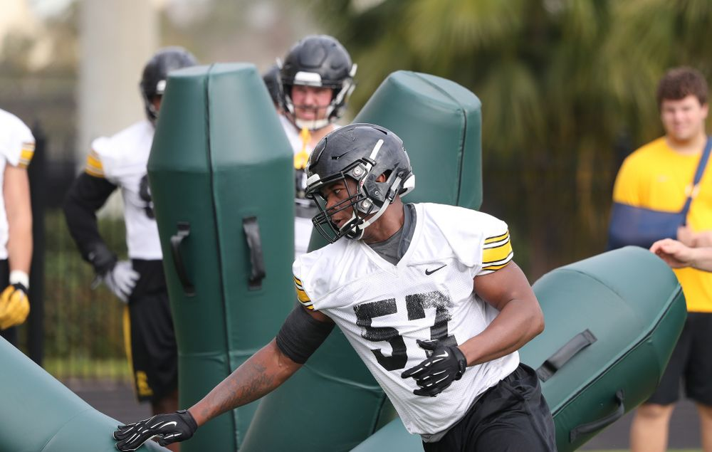 Iowa Hawkeyes defensive end Chauncey Golston (57) during practice for the 2019 Outback Bowl Friday, December 28, 2018 at the University of Tampa. (Brian Ray/hawkeyesports.com)