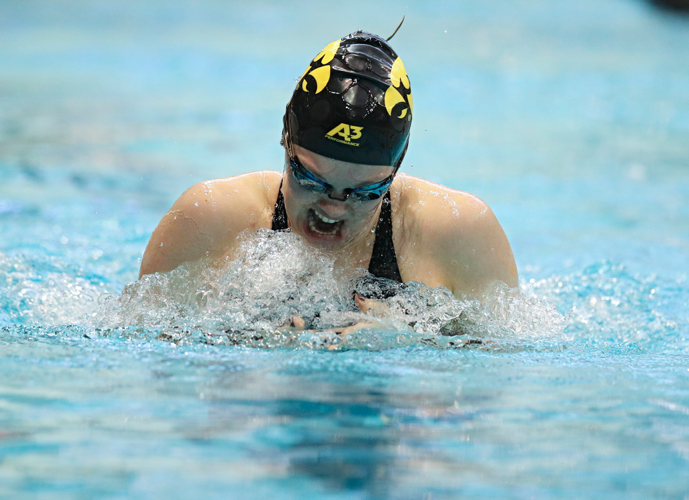 Iowa's Lexi Horner swims in the women's 200 yard breaststroke preliminary event during the 2020 Women's Big Ten Swimming and Diving Championships at the Campus Recreation and Wellness Center in Iowa City on Saturday, February 22, 2020. (Stephen Mally/hawkeyesports.com)