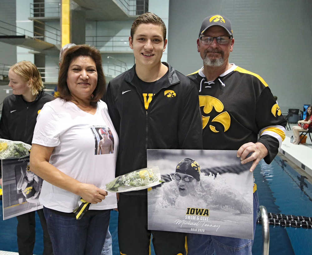 Iowa's Michael Tenney is honored on senior day before their meet at the Campus Recreation and Wellness Center in Iowa City on Friday, February 7, 2020. (Stephen Mally/hawkeyesports.com)