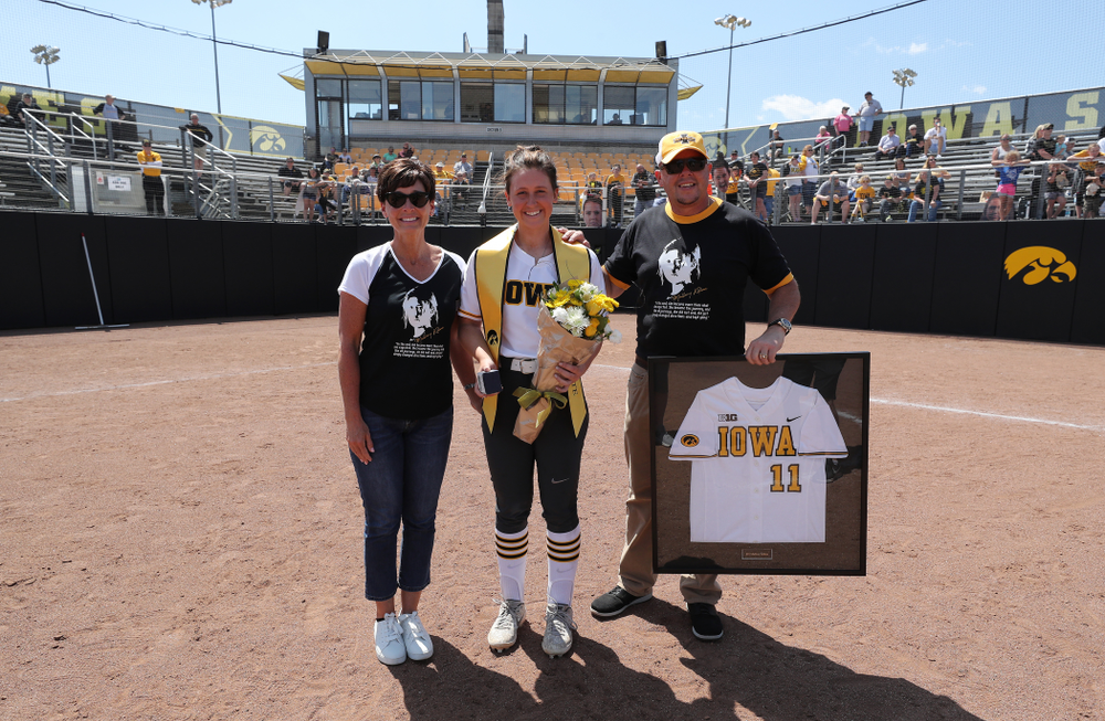Iowa Hawkeyes Mallory Kilian (11) during senior day festivities following their game against the Ohio State Buckeyes Sunday, May 5, 2019 at Pearl Field. (Brian Ray/hawkeyesports.com)ic
