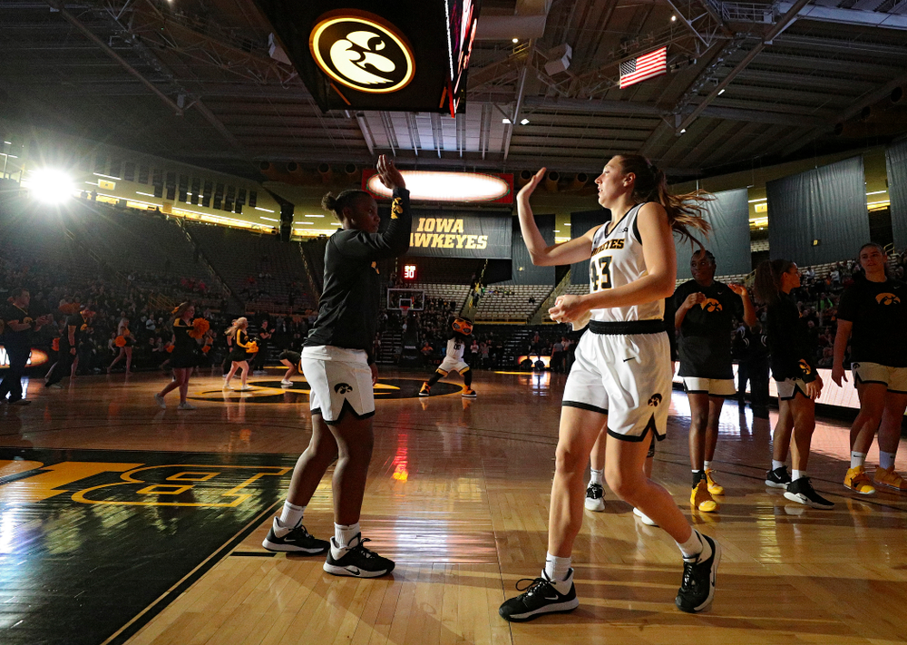 Iowa forward Amanda Ollinger (43) is introduced before their overtime win against Princeton at Carver-Hawkeye Arena in Iowa City on Wednesday, Nov 20, 2019. (Stephen Mally/hawkeyesports.com)