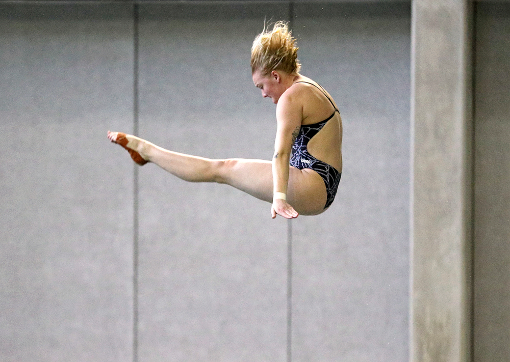 Iowa's Thelma Strandberg competes in the women's platform diving preliminary event during the 2020 Women's Big Ten Swimming and Diving Championships at the Campus Recreation and Wellness Center in Iowa City on Saturday, February 22, 2020. (Stephen Mally/hawkeyesports.com)