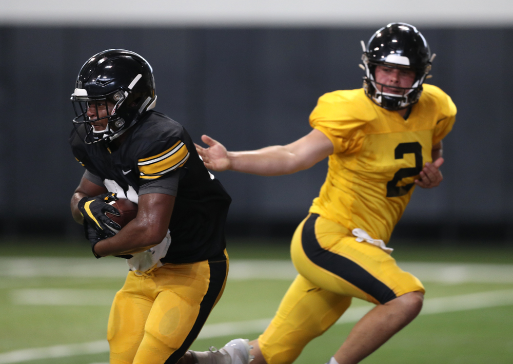 Iowa Hawkeyes running back Ivory Kelly-Martin (21) during Fall Camp Practice No. 6 Thursday, August 8, 2019 at the Ronald D. and Margaret L. Kenyon Football Practice Facility. (Brian Ray/hawkeyesports.com)