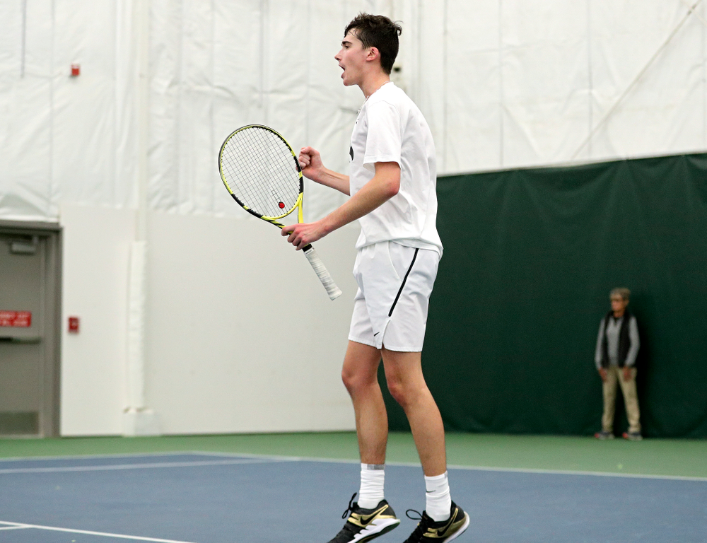 Iowa's Matt Clegg celebrates a point during his doubles match at the Hawkeye Tennis and Recreation Complex in Iowa City on Sunday, February 16, 2020. (Stephen Mally/hawkeyesports.com)