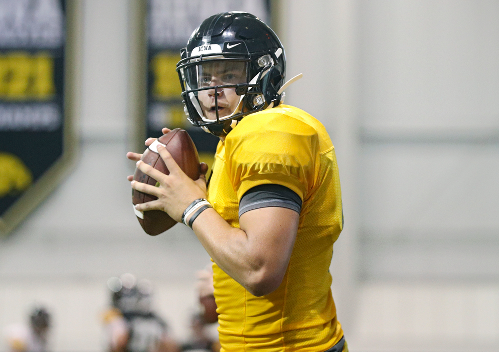 Iowa Hawkeyes quarterback Nate Stanley (4) sets to throw during Fall Camp Practice No. 6 at the Hansen Football Performance Center in Iowa City on Thursday, Aug 8, 2019. (Stephen Mally/hawkeyesports.com)