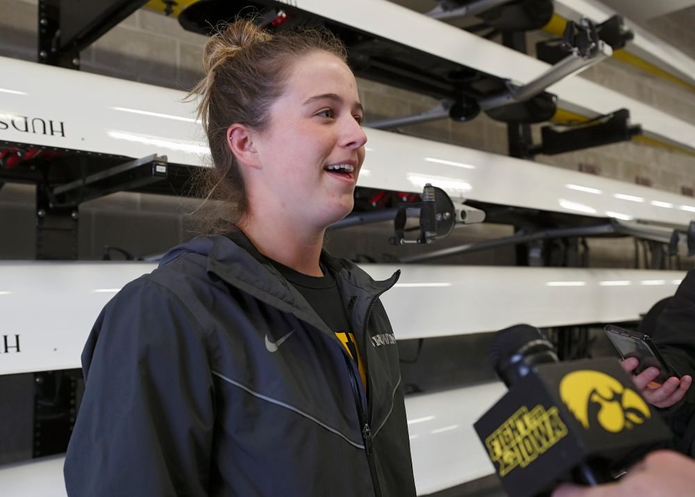 Iowa's Noelle Ossenkop answers a question during media availability at the P. Sue Beckwith, M.D., Boathouse in Iowa City on Wednesday, Apr. 10, 2019. (Stephen Mally/hawkeyesports.com)