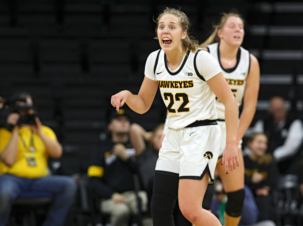 Iowa Hawkeyes guard Kathleen Doyle (22) shouts to her teammates during the fourth quarter of their game at Carver-Hawkeye Arena in Iowa City on Sunday, January 12, 2020. (Stephen Mally/hawkeyesports.com)