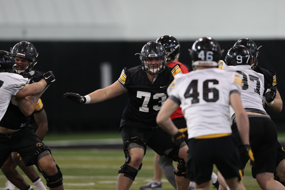 Iowa Hawkeyes offensive lineman Cody Ince (73) during preparation for the 2019 Outback Bowl Tuesday, December 18, 2018 at the Hansen Football Performance Center. (Brian Ray/hawkeyesports.com)