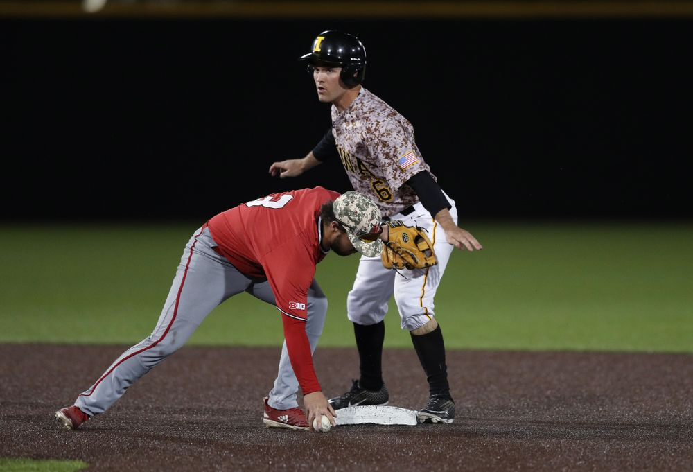 Iowa Hawkeyes outfielder Justin Jenkins (6) steals second against the Nebraska Cornhuskers on Military Appreciation Night Friday, April 19, 2019 at Duane Banks Field. (Brian Ray/hawkeyesports.com)